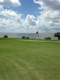 Golf field and red flag