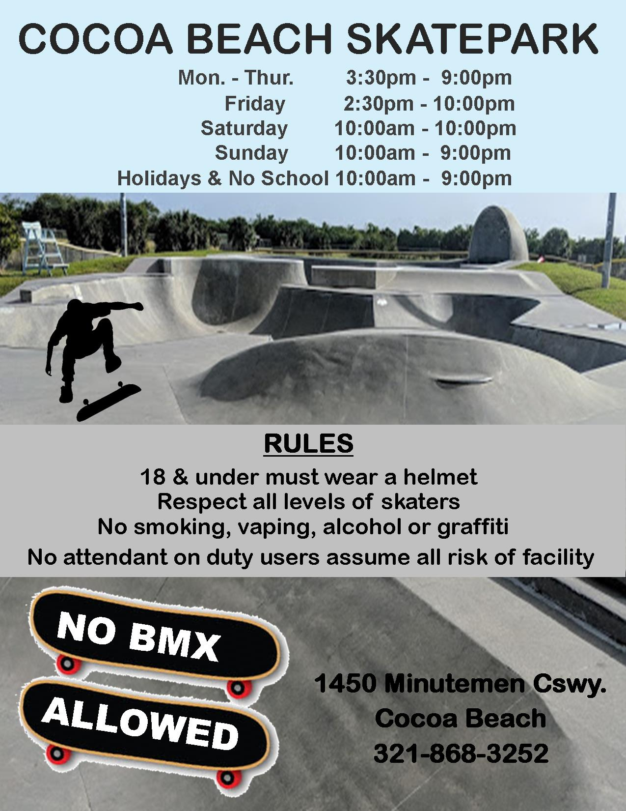Skatepark hours and rules - Information found on Skate Park Page